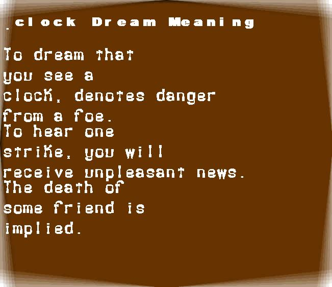 dream meanings clock