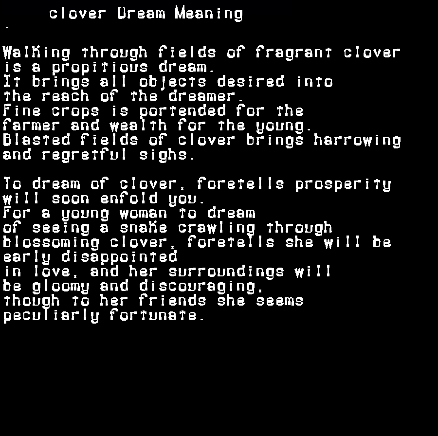 dream meanings clover