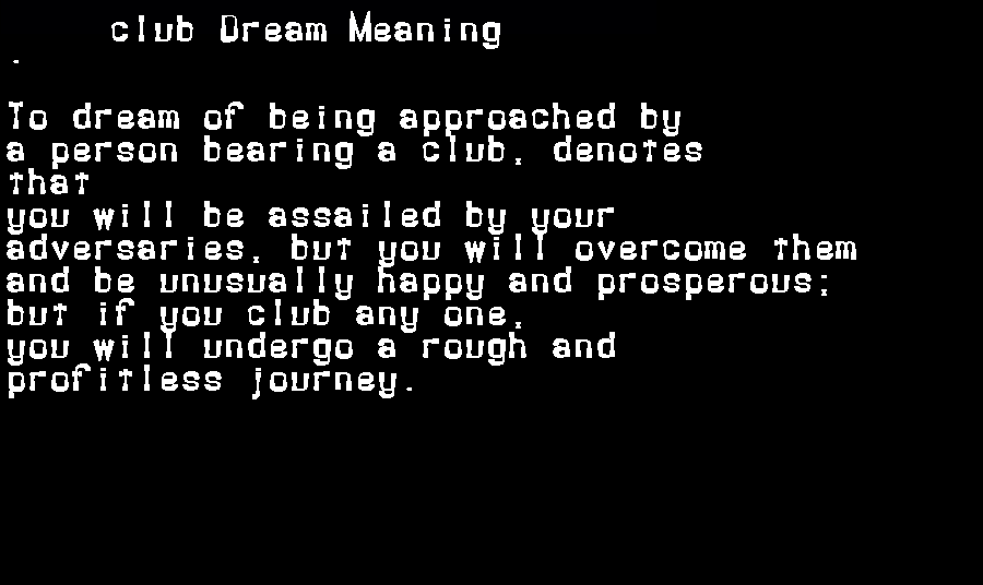dream meanings club