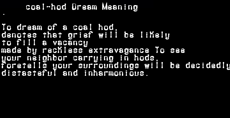 dream meanings coal-hod