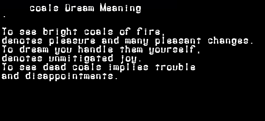 dream meanings coals