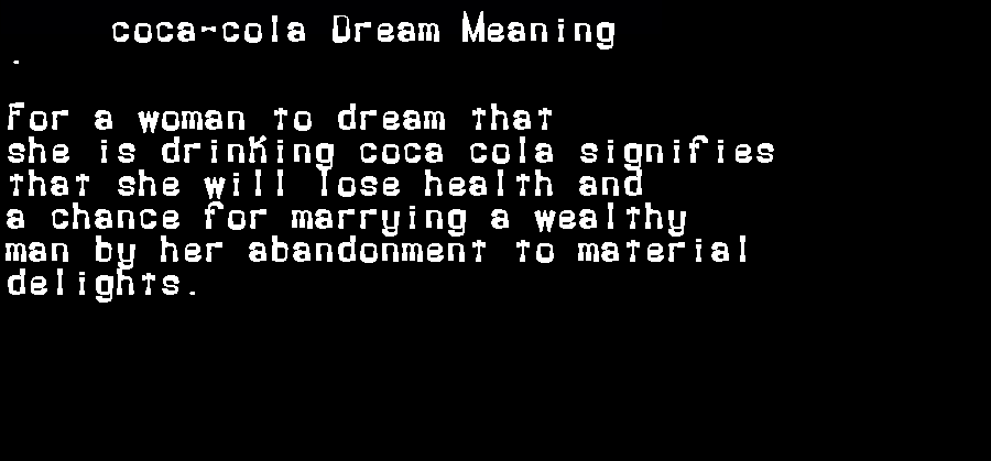 dream meanings coca-cola