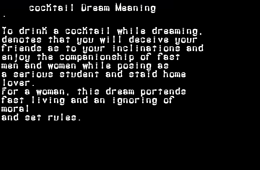 dream meanings cocktail