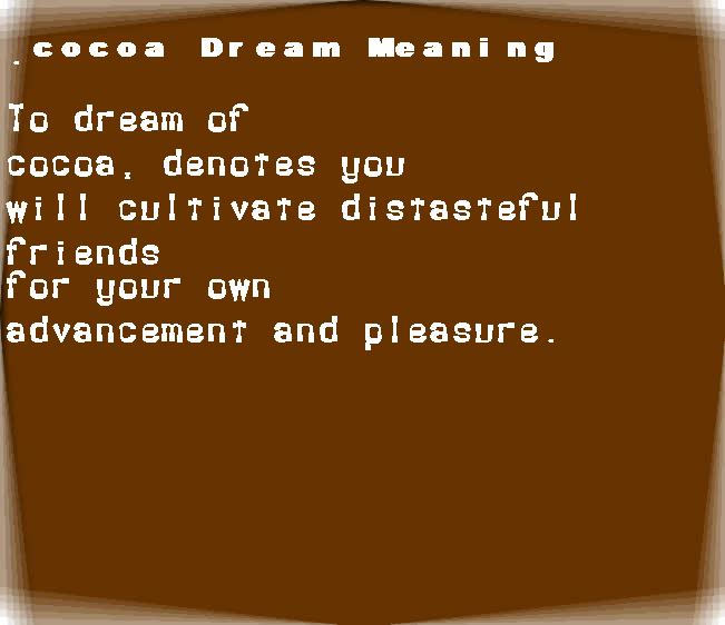 dream meanings cocoa