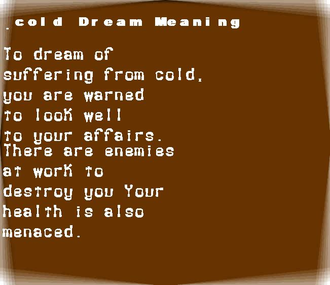 dream meanings cold