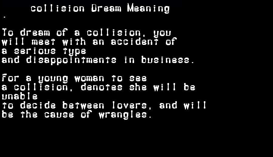 dream meanings collision