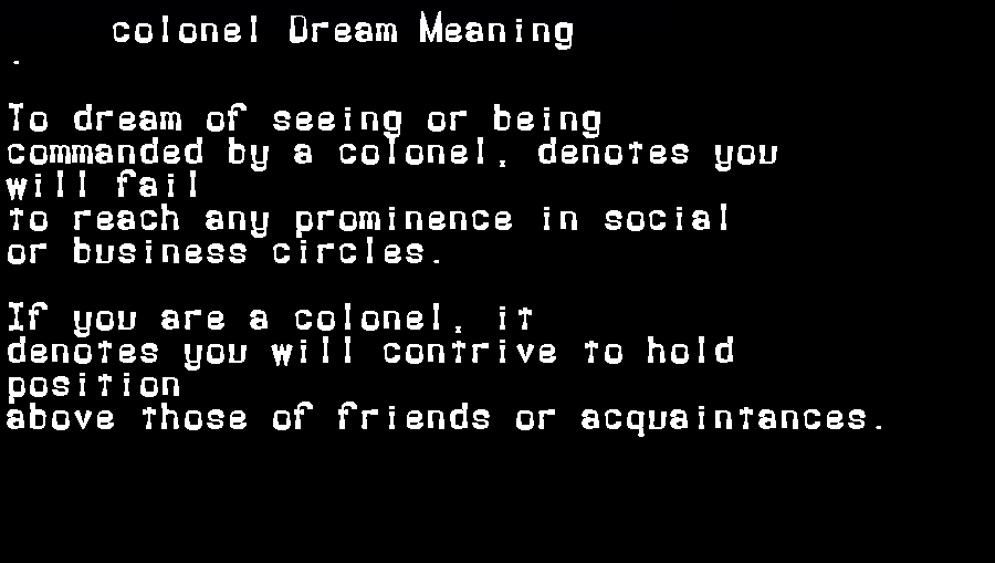 dream meanings colonel