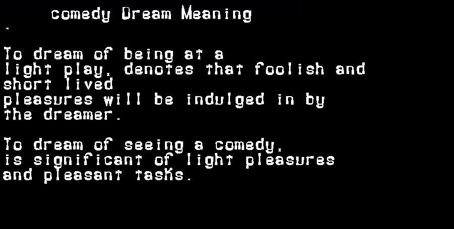 dream meanings comedy