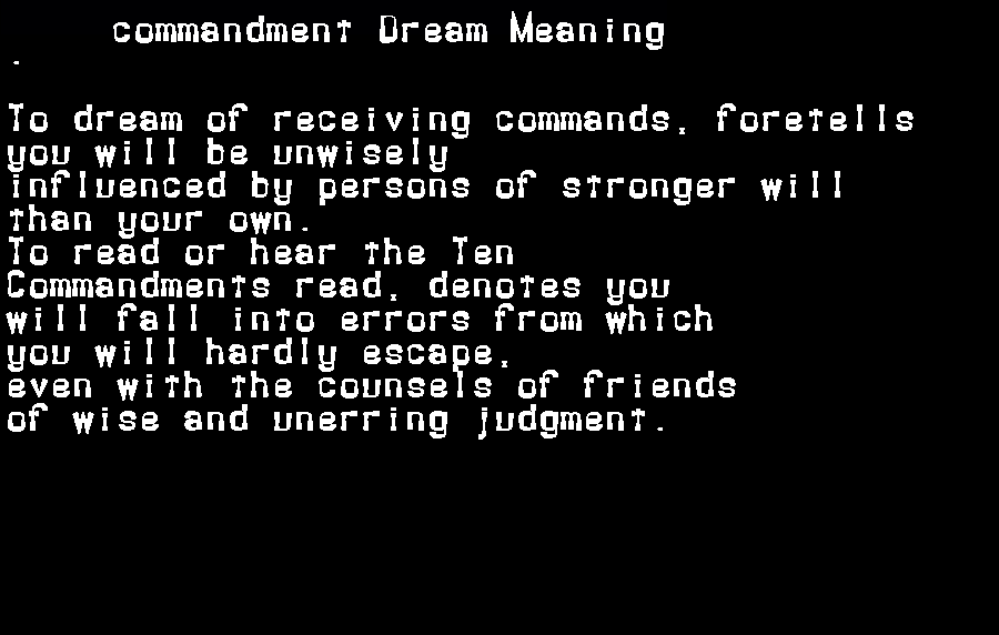 dream meanings commandment