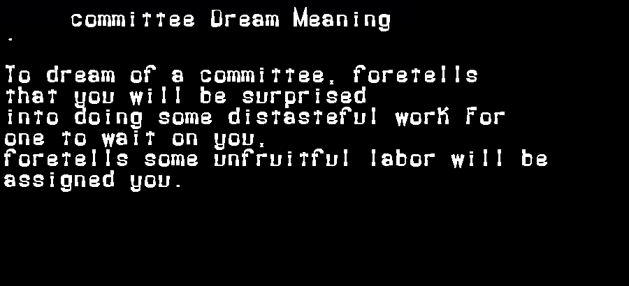 dream meanings committee
