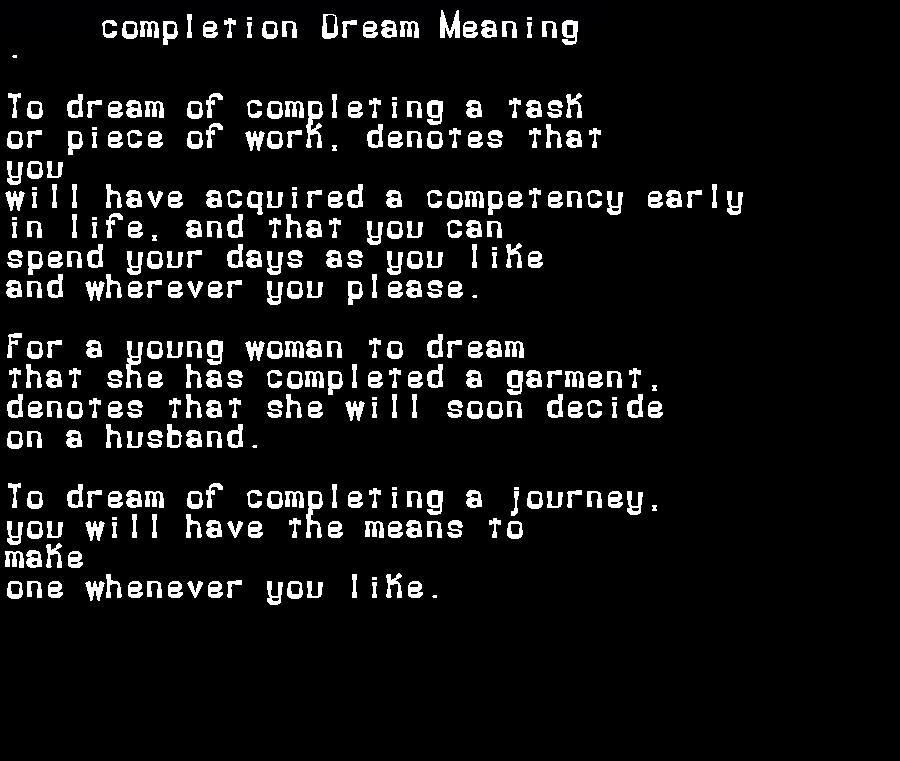 dream meanings completion