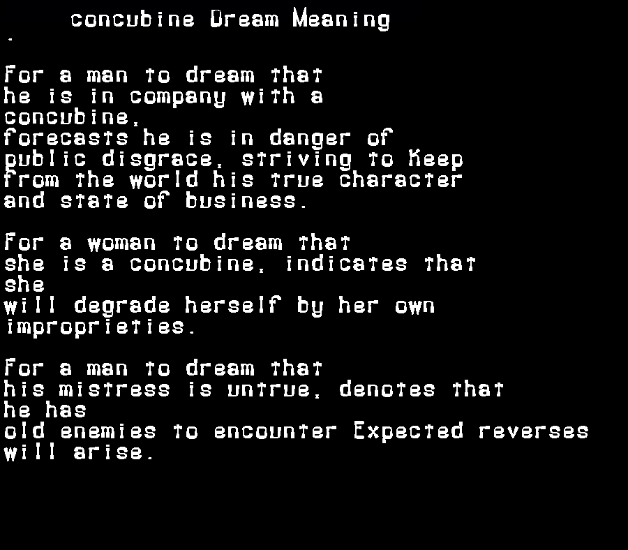 dream meanings concubine