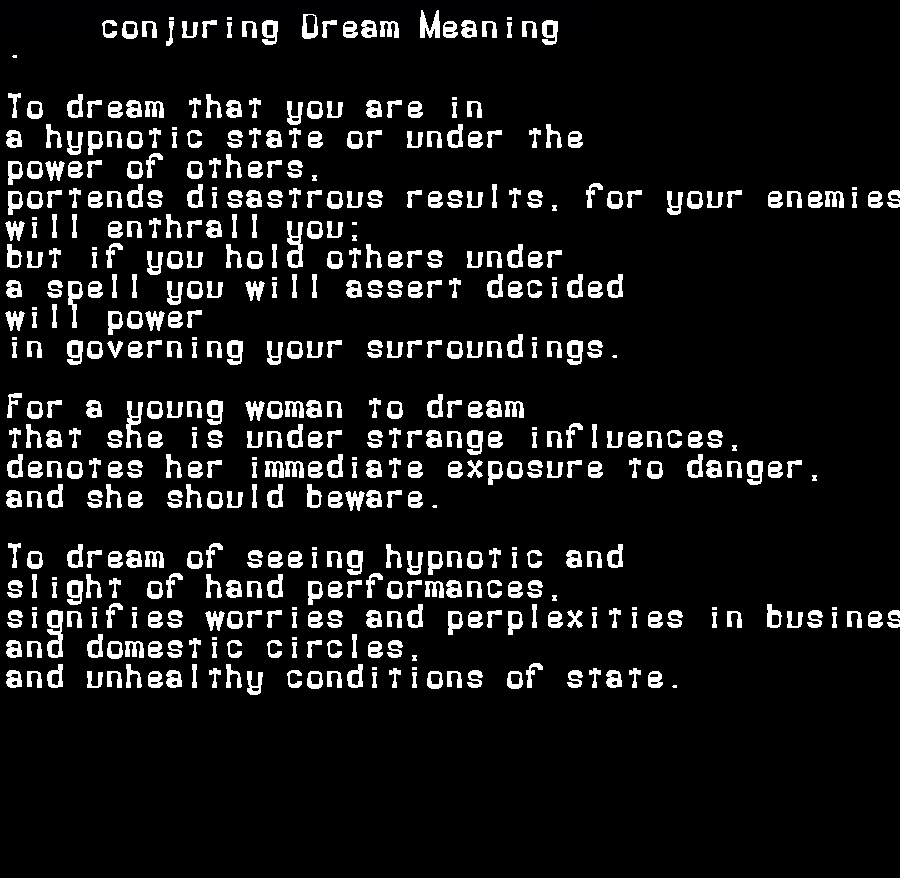 dream meanings conjuring
