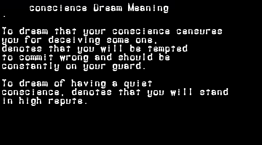 dream meanings conscience