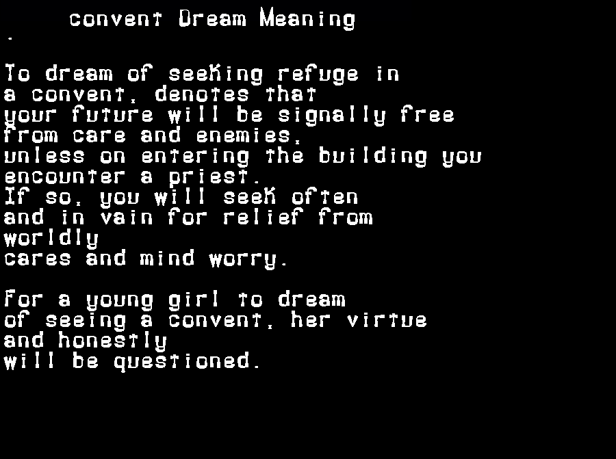 dream meanings convent