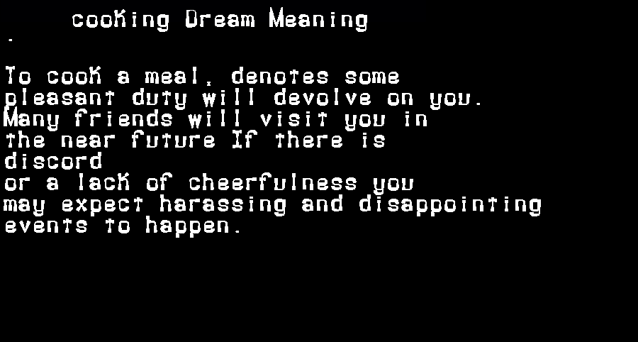 dream meanings cooking