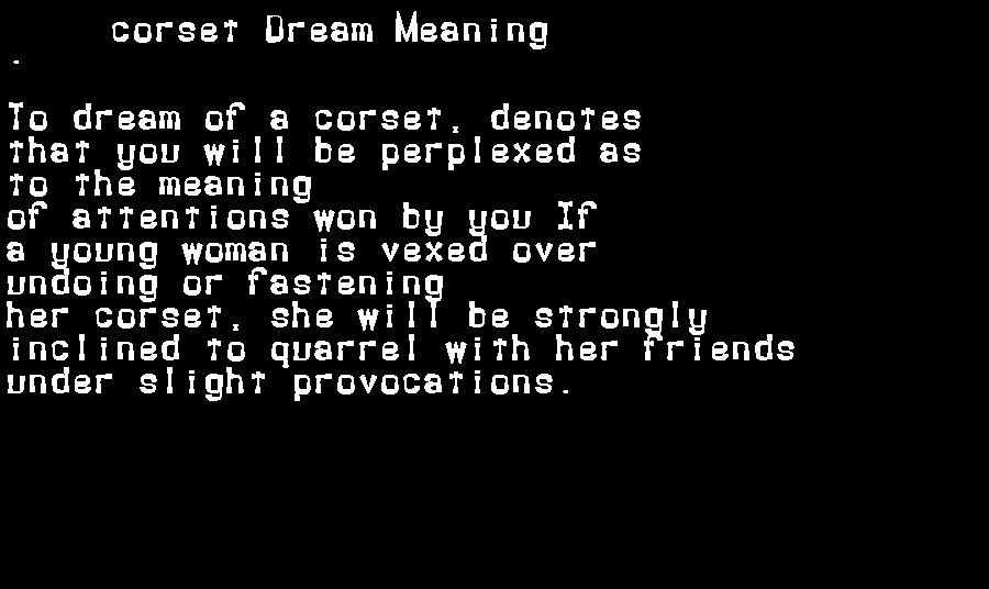 dream meanings corset