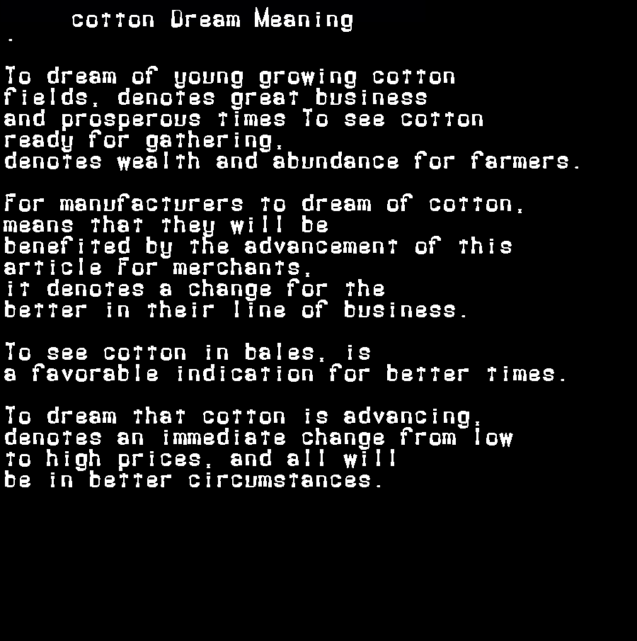 dream meanings cotton