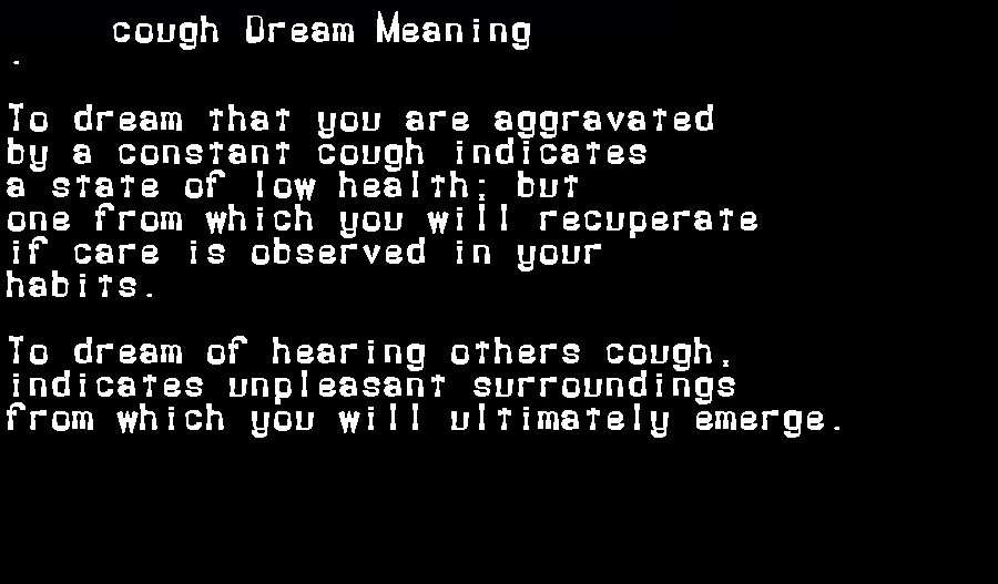 dream meanings cough