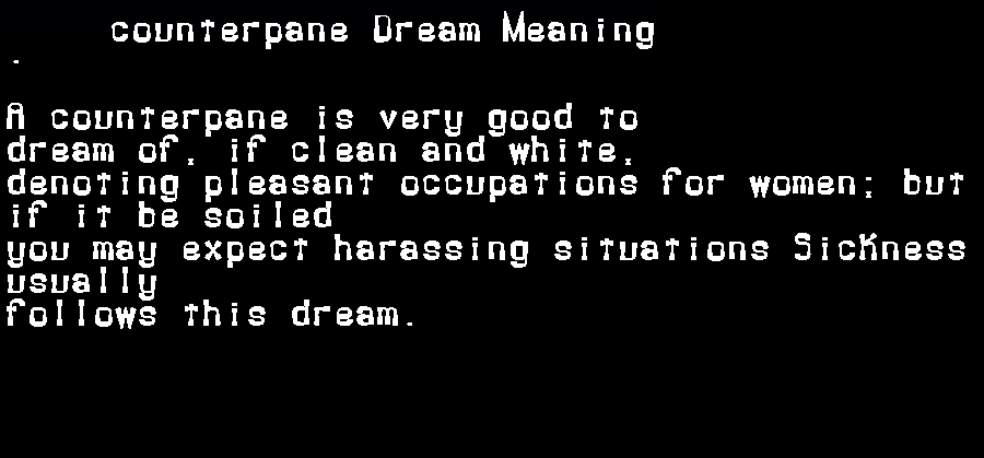 dream meanings counterpane