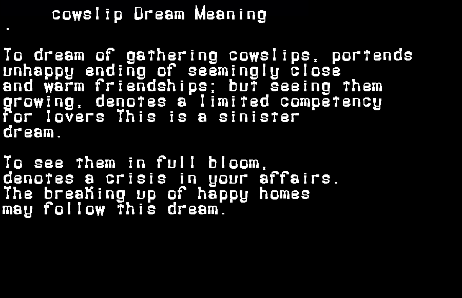 dream meanings cowslip