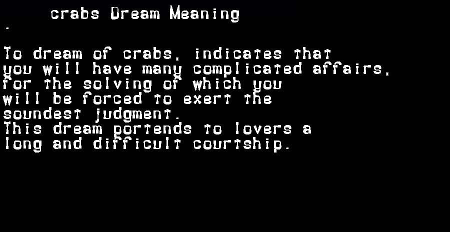 dream meanings crabs