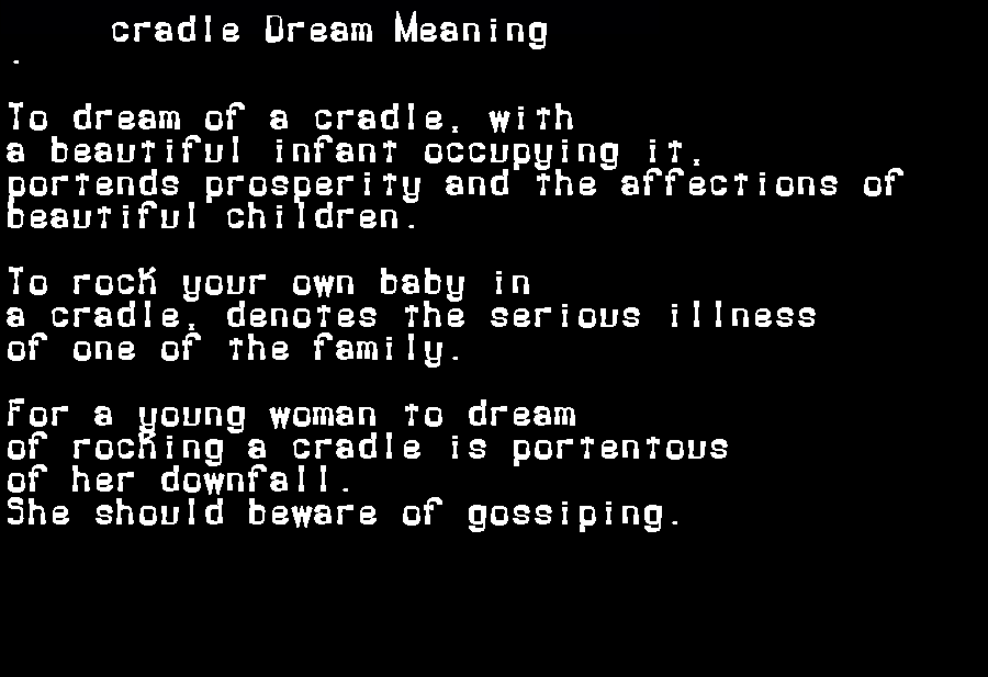 dream meanings cradle