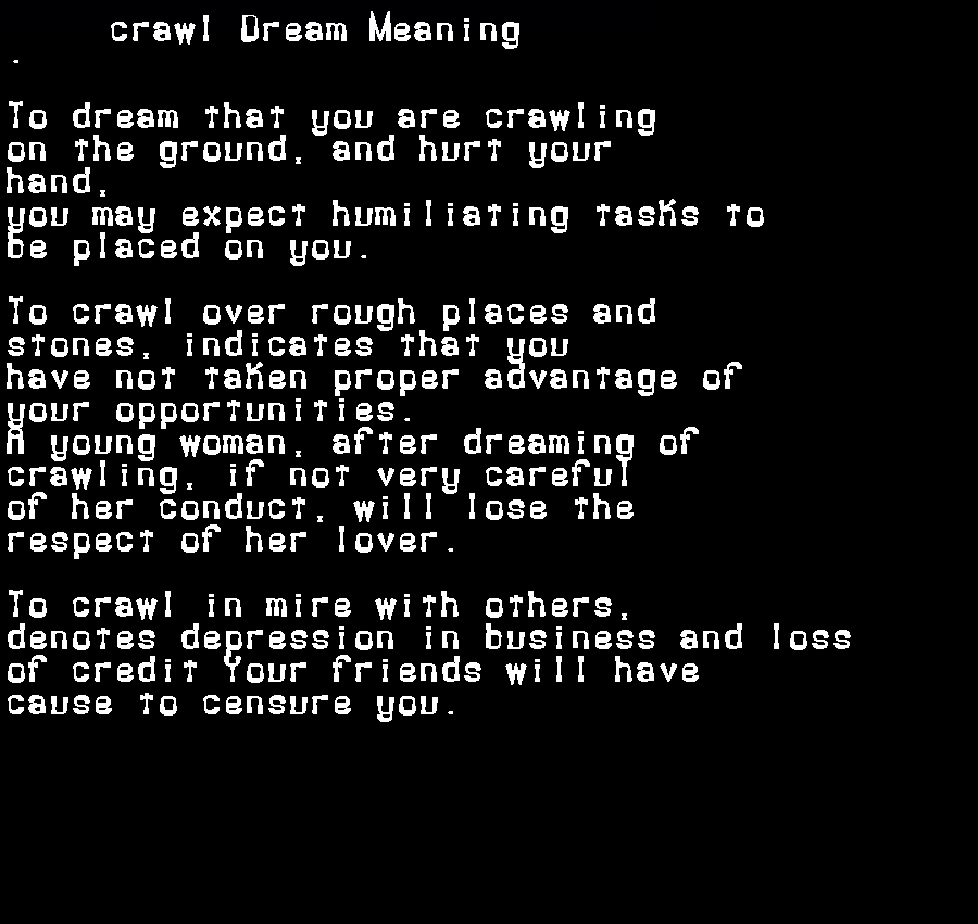 dream meanings crawl