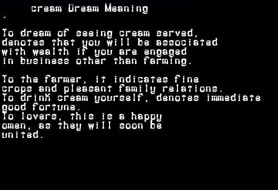 dream meanings cream