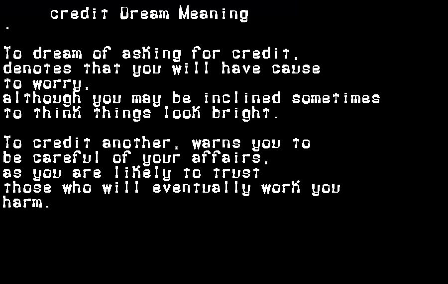 dream meanings credit