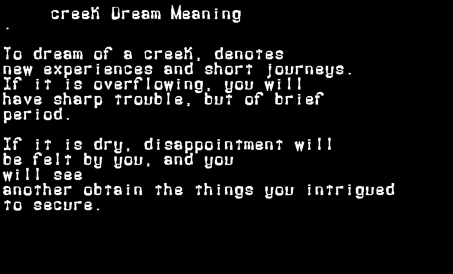 dream meanings creek