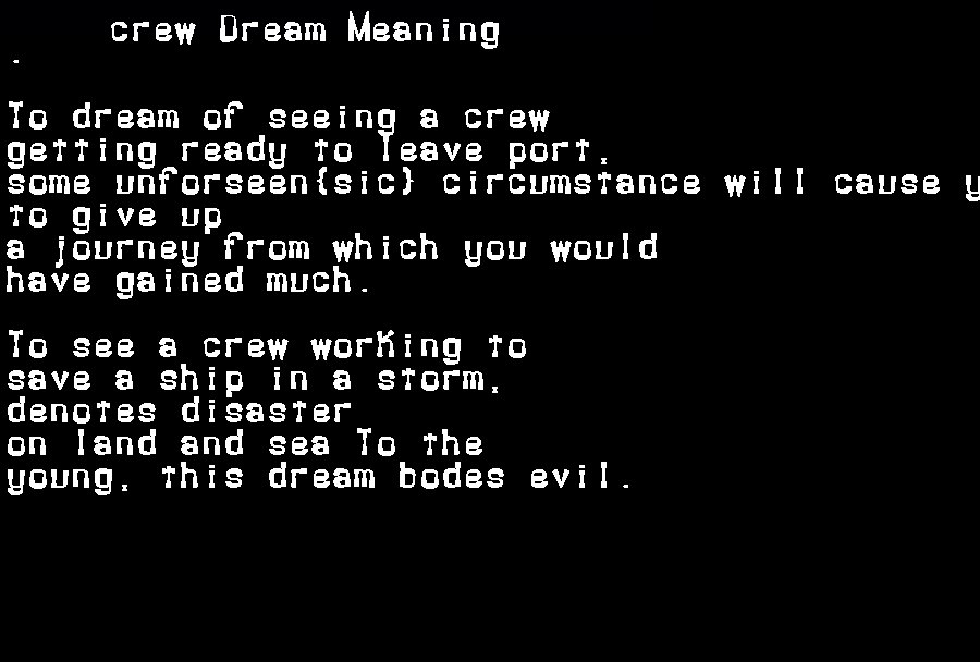 dream meanings crew