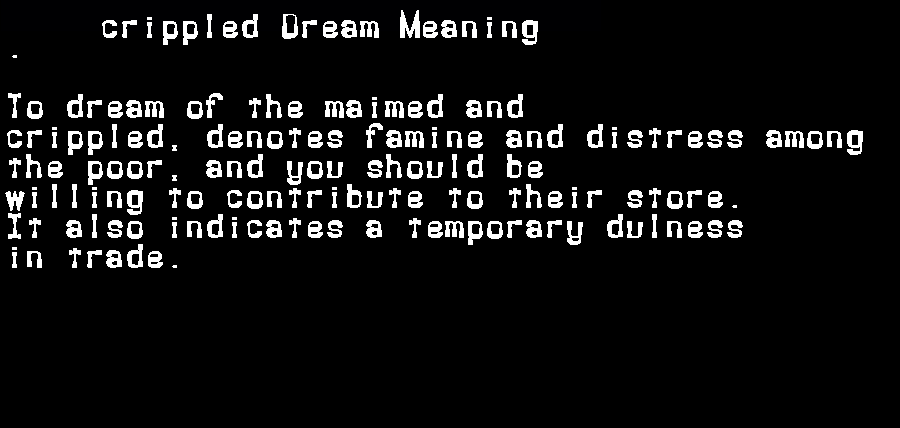 dream meanings crippled