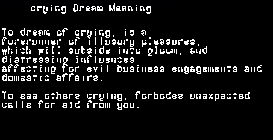 dream meanings crying