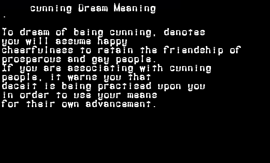 dream meanings cunning