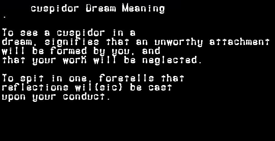 dream meanings cuspidor