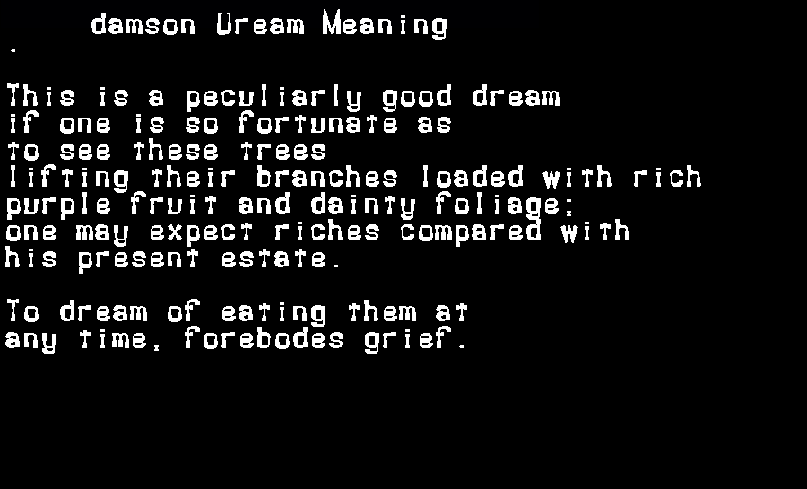 dream meanings damson