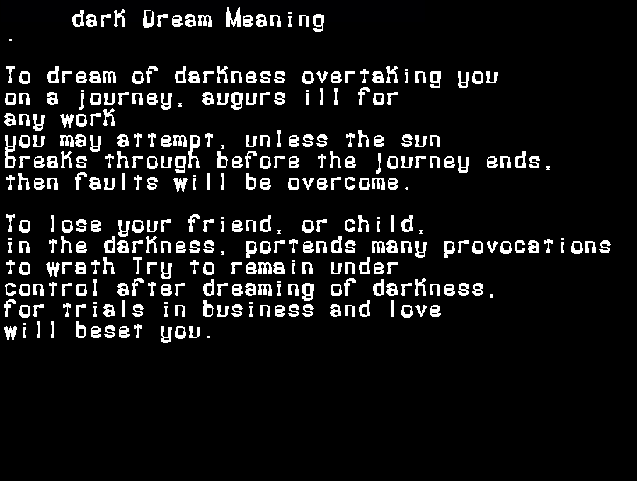 dream meanings dark