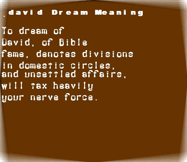 dream meanings david