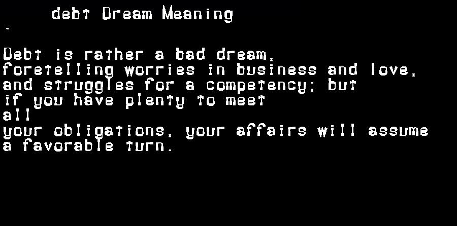 dream meanings debt