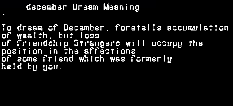 dream meanings december