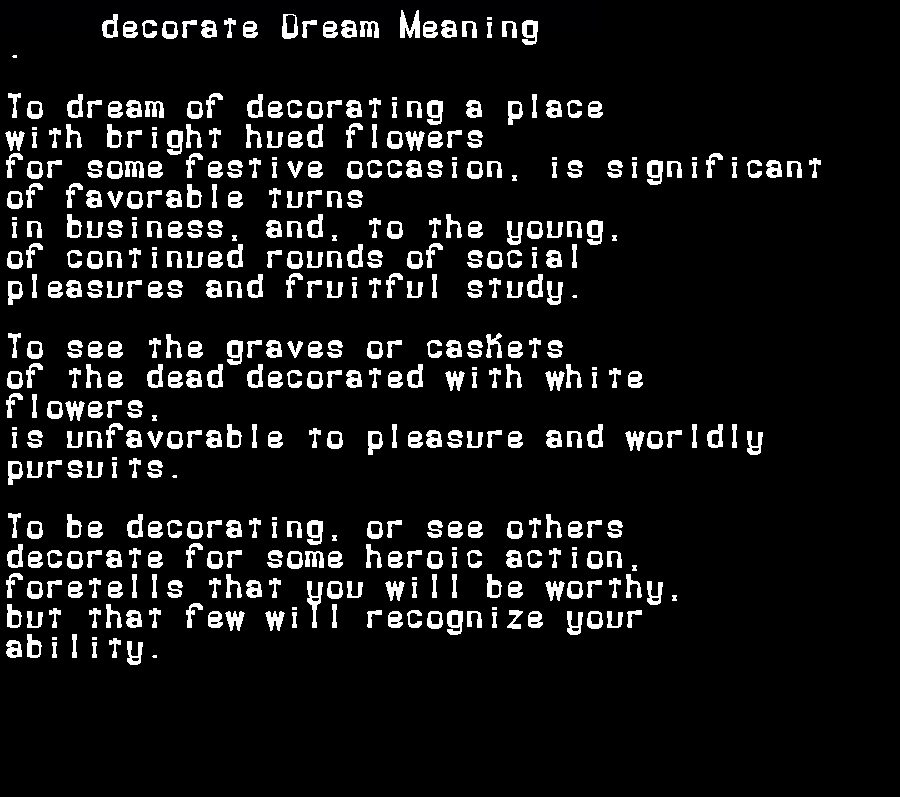 dream meanings decorate
