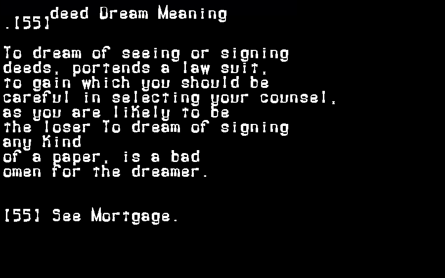 dream meanings deed