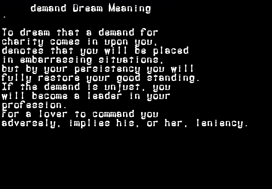 dream meanings demand