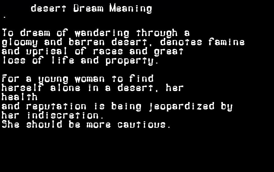 dream meanings desert