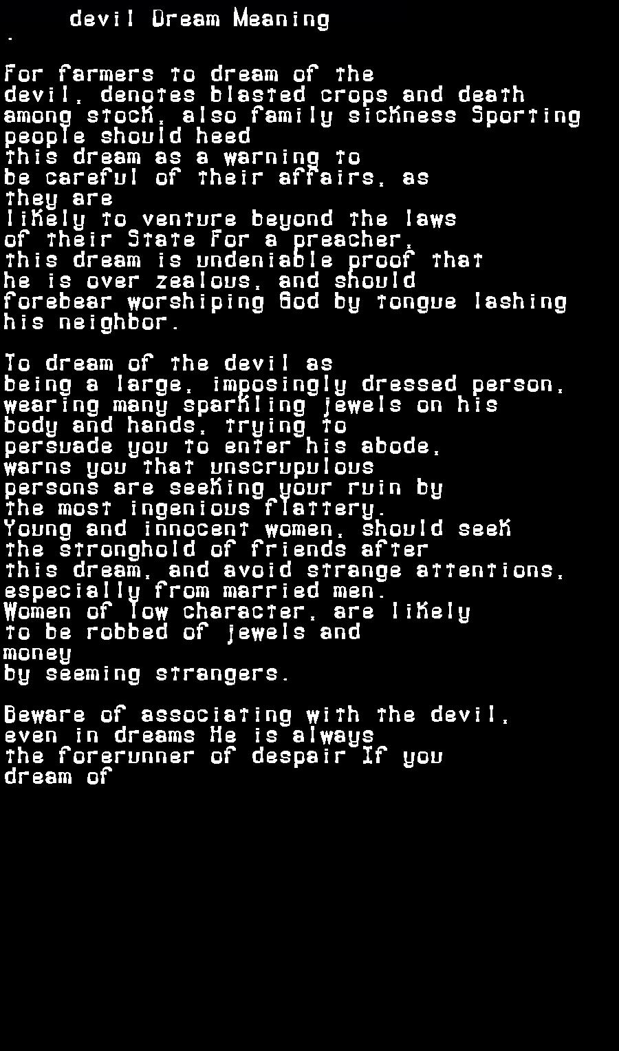 dream meanings devil