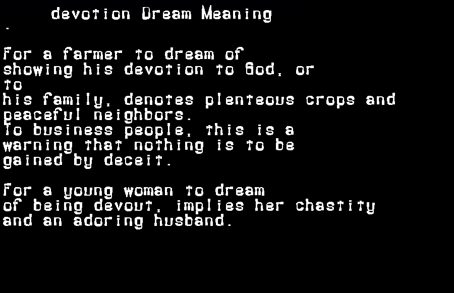 dream meanings devotion