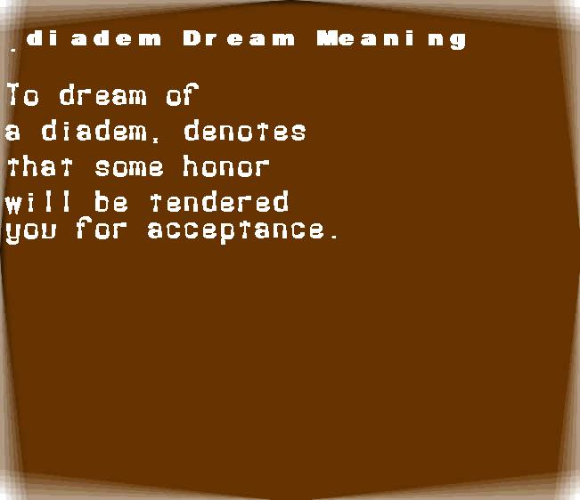 dream meanings diadem