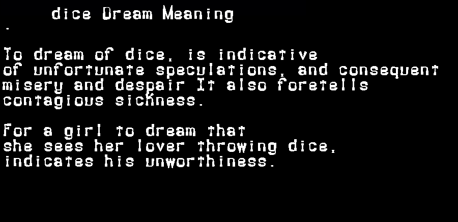 dream meanings dice