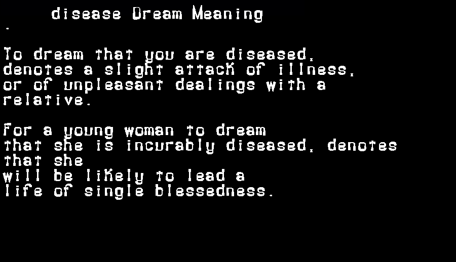 dream meanings disease